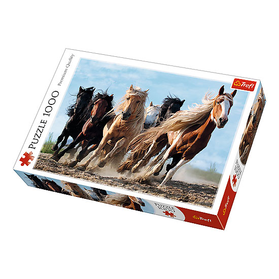 Puzzle z galopującami końmi. Trefl 1500