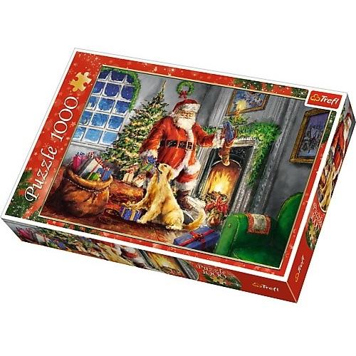 puzzle z Mikołajem i prezentami