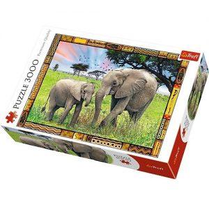 puzzle ze słoniami na sawannie